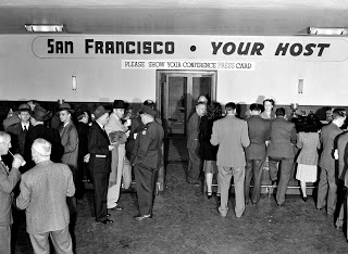 A snack bar in the basement of the Veterans Building served members of the press—a courtesy of the San Francisco Chamber of Commerce and other companies.