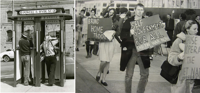 (Left) Col. Arthur Roth (Photographer), Hippies in Powell and Hyde St. Phone Booth, San Francisco, c. 1969–70, California Historical Society, CHS2013.1238; (right) Photographer unknown, Vietnam War Demonstration, February 19, 1965, Federal Office Building, San Francisco, California Historical Society