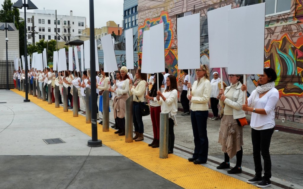 What Matters to Us?: A Reenactment of Anna Halprin's Blank Placard Dance, 2015 Photo by Marco Rivera; courtesy of the Tamalpa Institute