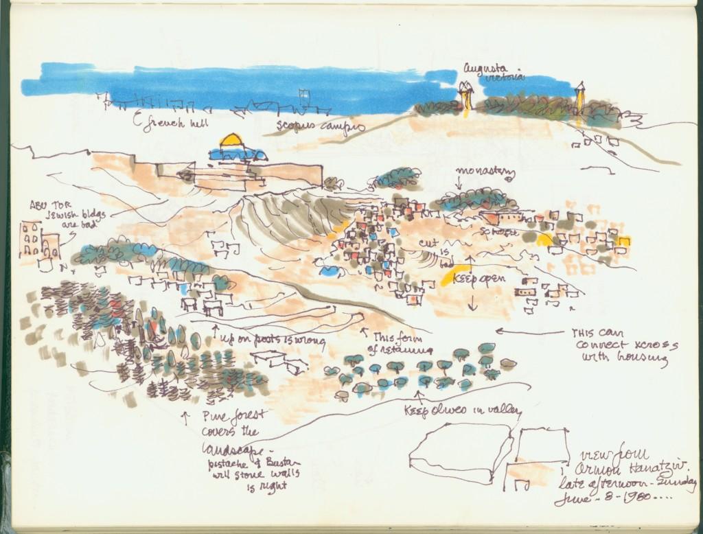 Lawrence Halprin, View of Jerusalem from Armon Hanatziv, 1980 Courtesy of Anna Halprin