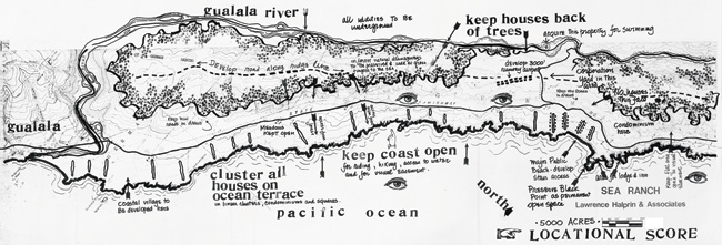 Lawrence Halprin, Sea Ranch Map, 1960s From Lawrence Halprin, The Sea Ranch: Diary of an Idea