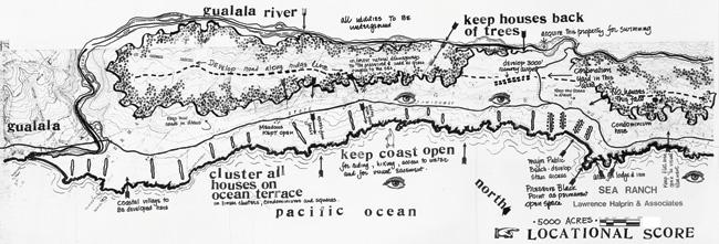 Lawrence Halprin, Sea Ranch Map, 1960s From Lawrence Halprin, The Sea Ranch: Diary of an Idea