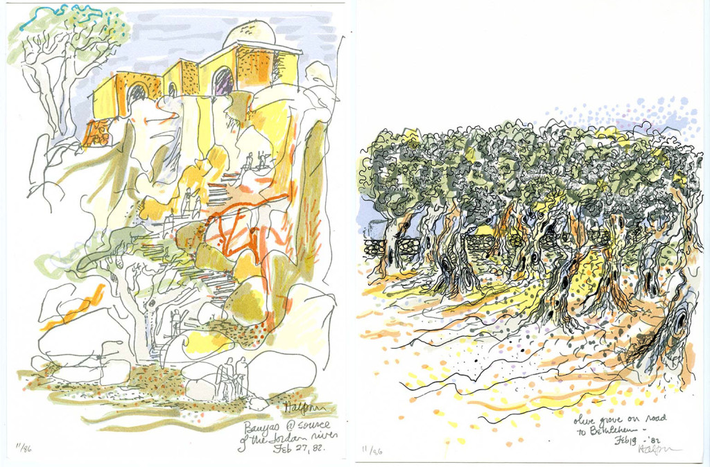 Lawrence Halprin, Banyas at Source of the Jordan River (left) and Olive Grove on Road to Bethlehem (right), 1982 Courtesy of Anna Halprin