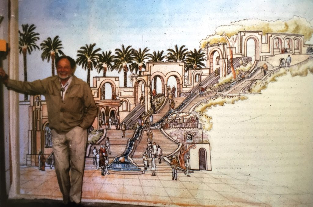 Lawrence Halprin with a drawing of the Bunker Hill Steps, date unknown Lawrence Halprin, A Life Spent Changing Places (Philadelphia: University of Pennsylvania, 2011)