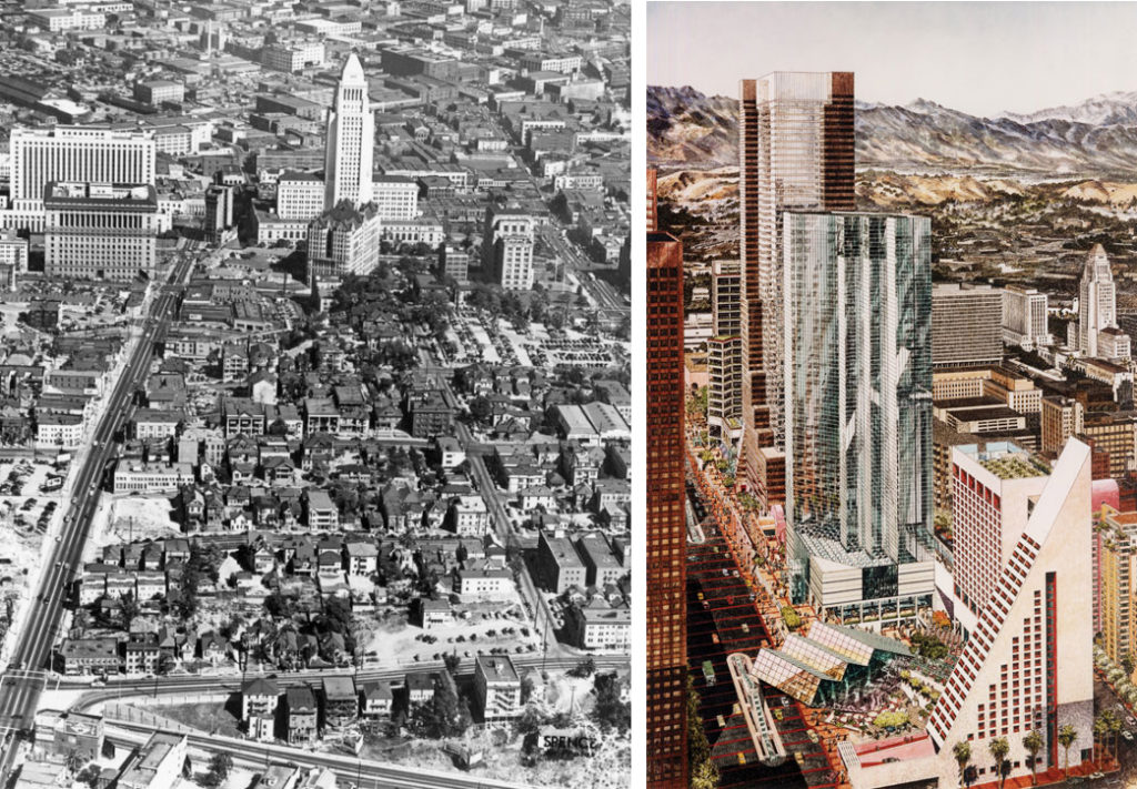"(Left) Aerial View over Bunker Hill, 1945 Courtesy of Los Angeles Public Library (Right) Carlos Diniz (artist), Overview Rendering of ""A Grand Avenue,"" 1980 Lawrence Halprin, A Life Spent Changing Places (Philadelphia: University of Pennsylvania, 2011) Archive of Carlos Diniz / Family of Carlos Diniz"